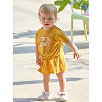 2-in-1 Dress with Bow for Babies dark yellow