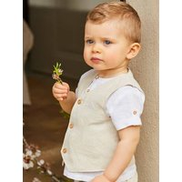 Waistcoat in Linen and Cotton, for Babies beige