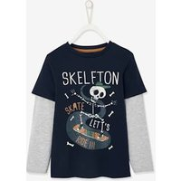 2-in-1 Effect Long Sleeve Sports Top for Boys dark blue.