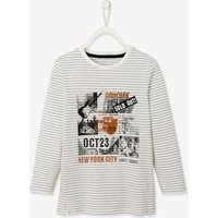 Top with Photo Print, for Boys white stripes.