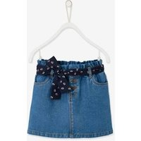 Paperbag-Style Denim Skirt for Girls black