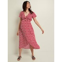 Floral Print Dress with Tie Belt for Maternity dark pink/print