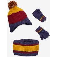 Beanie + Snood + Gloves Set for Boys, Oeko Tex® dark red stripes