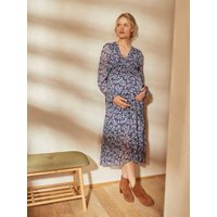 Printed Long Crêpe Dress, Maternity and Nursing Special blue/print
