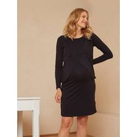 2-in-1 Jersey Knit Dress, Maternity and Nursing Special black