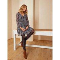 Crêpe Printed Dress, Maternity and Nursing Special dark brown/print