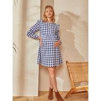 Dress with Woven Checks, Maternity and Nursing Special dark blue checks