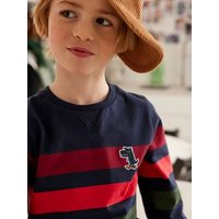 Striped Top with Embroidered Dino-Shaped Patch, for Boys dark blue.