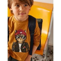 Top with Fun Cat Motif for Boys brown.