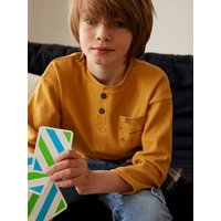 Grandad-Style Oversized Top in Honeycomb Fabric for Boys beige.