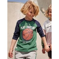 Sports Top with Balloon in Relief & Raglan Sleeves, for Boys green