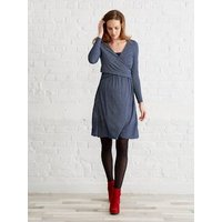Adaptable Maternity & Nursing Wrapover Dress Blue Medium All Over Printed