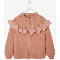 Cardigan with Zip and Ruffle in Broderie Anglaise for Girls light pink