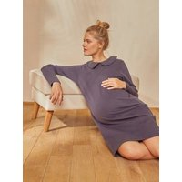 Fleece Dress in Organic Cotton, Maternity and Nursing Special grey anthracite