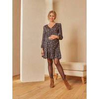Printed Wrap-Over Dress, Maternity and Nursing Special beige/print