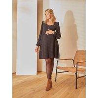 Short Cotton Gauze Dress, Maternity and Nursing Special black dark solid