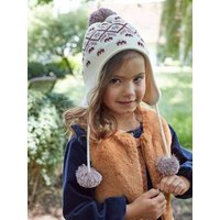 Oeko Tex® Jacquard Knit Beanie + Snood + Gloves Set for Girls beige