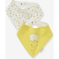 Pack of 2 Bandana-Style Bibs grey light solid with design