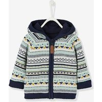Baby Boys Reversible Jacket with Hood blue dark all over printed