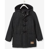 Boys' Duffle-Coat with Fleece Lining blue dark solid with design