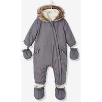 Baby Padded Jumpsuit With Plush Lining Beige Light Solid