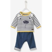 Baby Embroidered Jumper & Jeans Outfit Set White Light Striped