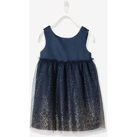 Girls' Satin & Tulle Dress blue dark solid with design