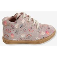 Girls' High-Top Printed Leather Trainers pink light all over printed