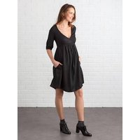 Wrapover Maternity & Nursing Dress black dark solid
