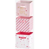 Set of 3 Fabric Storage Boxes pink light 2 color/multicol r