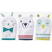 Pack of 3 Bath Gloves, Animals white light solid with design