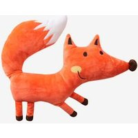 Fox-Shaped Plush Cushion orange medium solid with desig