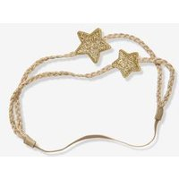 Double-braided Headband With 2 Stars Beige Medium Solid With Decor