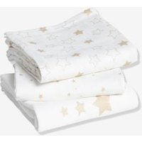 Pack of 3 Nappies white light solid with design