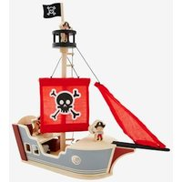 Pirate Boat grey medium solid with design