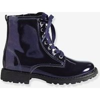 Girls Lace-Up Ankle Boots blue dark metallized