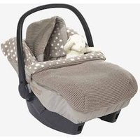 Star Printed Knit Footmuff for Car Seats taupe