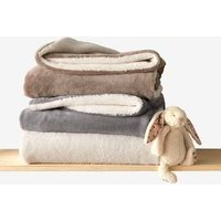 Microfibre Blanket with Sheepskin Lining grey