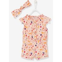 Baby Girls' Playsuit and Headband pink light all over printed