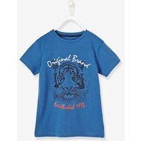 Boys T-Shirt with Embroidered Lion blue medium solid with design