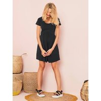 Short-sleeved Printed Jersey Knit Maternity Dress Black Dark Solid