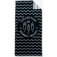 Beach Towel, Cool Waves Theme blue dark solid with design