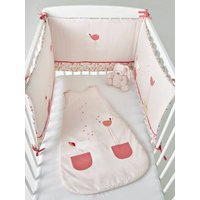 Cot Bumper, BIRDY LOVE Theme pink light solid with design