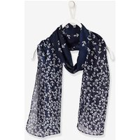 Girls' Square Scarf with Print blue dark all over printed