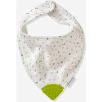 Special Teething Bib, Bandana-style white light all over printed