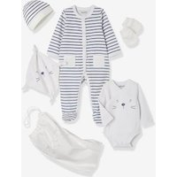 5-piece Set For Newborns, Striped, With Cat And Bag Orange Bright Striped