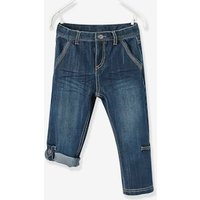 Boys Indestructible Cropped Denim Trousers, Convertible into Bermuda Shorts blue dark solid