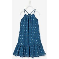 Long Dress with Ruffle blue medium all over printed