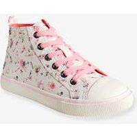 Girls' Leather High-Top Trainers, in Fabric grey medium solid with design