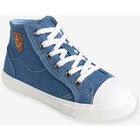 Boys' Denim High-Top Trainers blue medium solid